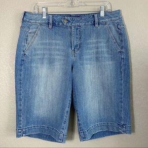 Light Wash Tab Button Denim Bermuda Shorts